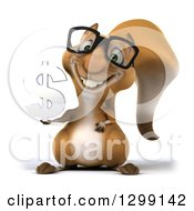 Clipart Of A 3d Bespectacled Squirrel Holding A Dollar Currency Symbol Royalty Free Illustration