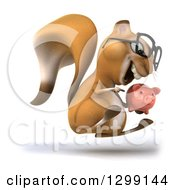 Clipart Of A 3d Bespectacled Squirrel Facing Right Jumping And Holding A Piggy Bank Royalty Free Illustration