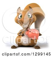 Clipart Of A 3d Squirrel Holding A Piggy Bank Royalty Free Illustration