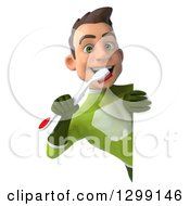 Clipart Of A 3d Young Brunette White Male Super Hero Dentist In A Green Suit Holding A Toothbrush Around A Sign Royalty Free Illustration