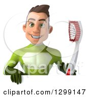 Clipart Of A 3d Young Brunette White Male Super Hero Dentist In A Green Suit Holding A Giant Toothbrush Over A Sign Royalty Free Illustration