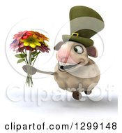 Clipart Of A 3d Irish Sheep Running And Holding A Boquet Of Flowers Royalty Free Illustration