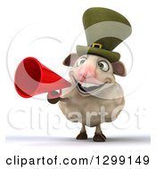 Clipart Of A 3d Irish Sheep Announcing With A Megaphone Royalty Free Illustration