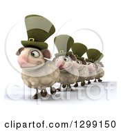 Clipart Of A 3d Line Of Happy Irish Sheep Facing Slightly Left Royalty Free Illustration