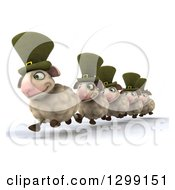 Clipart Of A 3d Line Of Happy Irish Sheep Running Slightly Left Royalty Free Illustration