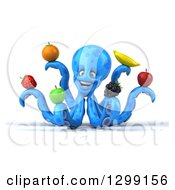 Clipart Of A 3d Blue Octopus Smiling And Holding Fruit Royalty Free Illustration by Julos