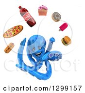 Clipart Of A 3d Blue Octopus Juggling Junk Food Royalty Free Illustration by Julos