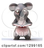 Clipart Of A 3d Happy Koala Reading A Book Royalty Free Illustration