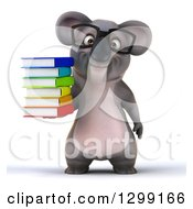 Clipart Of A 3d Bespectacled Koala Holding A Stack Of Books Royalty Free Illustration