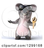 Clipart Of A 3d Happy Koala Wearing Sunglasses Presenting And Holding A Waffle Ice Cream Cone Royalty Free Illustration