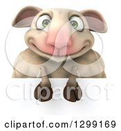 Clipart Of A 3d Happy Sheep Smiling Over A Sign Royalty Free Illustration