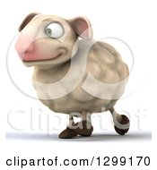 Clipart Of A 3d Happy Sheep Walking Slightly To The Left Royalty Free Illustration