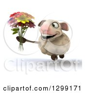 Clipart Of A 3d Happy Sheep Holding A Flower Bouquet And Running Slightly To The Left Royalty Free Illustration
