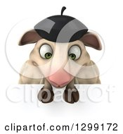 Clipart Of A 3d French Sheep Looking Down At A Sign Royalty Free Illustration