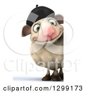 Clipart Of A 3d Full Length French Sheep Smiling Around A Sign Royalty Free Illustration