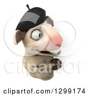 Clipart Of A 3d French Sheep Smiling Around A Sign Royalty Free Illustration