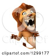 Clipart Of A 3d Male Lion Roaring Around A Sign Royalty Free Illustration