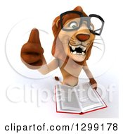 Clipart Of A 3d Bespectacled Male Lion Holding A Thumb Up And A Stack Of Books Royalty Free Illustration
