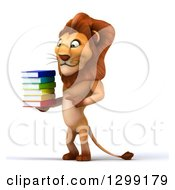 Clipart Of A 3d Male Lion Facing Left Pointing And Holding A Stack Of Books Royalty Free Illustration