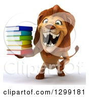 Clipart Of A 3d Male Lion Roaring And Holding A Stack Of Books Royalty Free Illustration