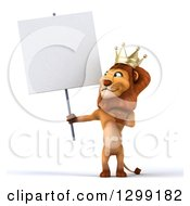 Clipart Of A 3d Male Lion King Holding And Pointing To A Blank Sign Royalty Free Illustration