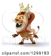 Clipart Of A 3d Male Lion King Facing Slightly Left And Roaring Royalty Free Illustration by Julos