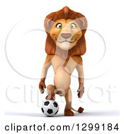 Clipart Of A 3d Male Lion Standing And Resting A Foot On A Soccer Ball Royalty Free Illustration