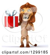 Clipart Of A 3d Male Lion Standing And Holding A Gift Royalty Free Illustration