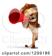 Clipart Of A 3d Full Length Male Lion Announcing With A Megaphone Around A Sign Royalty Free Illustration