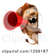 Clipart Of A 3d Male Lion Announcing With A Megaphone Around A Sign Royalty Free Illustration