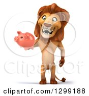 Clipart Of A 3d Male Lion Standing And Holding A Piggy Bank Royalty Free Illustration