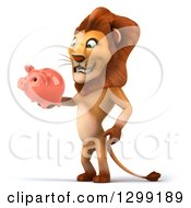 Clipart Of A 3d Male Lion Facing Slightly Left Standing And Holding A Piggy Bank Royalty Free Illustration