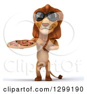 Clipart Of A 3d Male Lion Wearing Sunglasses Holding And Pointing To A Pizza Royalty Free Illustration