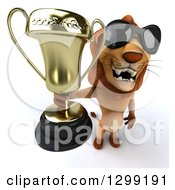 Clipart Of A 3d Male Lion Wearing Sunglasses Holding Up A Trophy Royalty Free Illustration