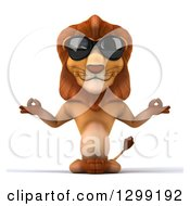 Clipart Of A 3d Male Lion Wearing Sunglasses And Meditating Royalty Free Illustration