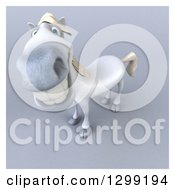 3d Happy White Horse Smiling Upwards Over Gray With A White Border