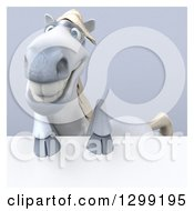 Clipart Of A 3d Happy White Horse Smiling Over A Sign Over Gray With A White Border Royalty Free Illustration by Julos
