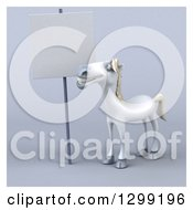 Clipart Of A 3d Happy White Horse Looking Up At A Blank Sign Over Gray With A White Border Royalty Free Illustration by Julos