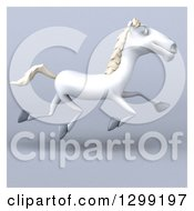 3d Happy White Horse Running Over Gray With A White Border