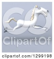 Clipart Of A 3d Happy White Horse Running Over Gray With A White Border 2 Royalty Free Illustration by Julos