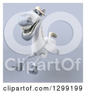 Clipart Of A 3d Happy White Horse Running Over Gray With A White Border 3 Royalty Free Illustration by Julos