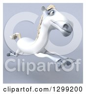 Clipart Of A 3d Happy White Horse Running Over Gray With A White Border 4 Royalty Free Illustration by Julos