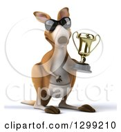Clipart Of A 3d Kangaroo Wearing Sunglasses And Holding A Trophy Royalty Free Illustration