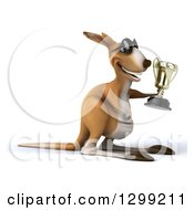 Clipart Of A 3d Kangaroo Wearing Sunglasses Facing Right And Holding A Trophy Royalty Free Illustration