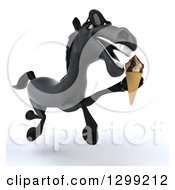 Clipart Of A 3d Black Horse Wearing Sunglasses And Running With A Waffle Ice Cream Cone Royalty Free Illustration