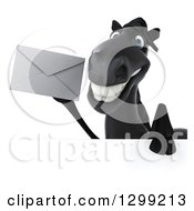 Clipart Of A 3d Black Horse Holding An Envelope Over A Sign Royalty Free Illustration