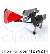 Clipart Of A 3d Black Horse Running And Announcing Upwards With A Megaphone Royalty Free Illustration