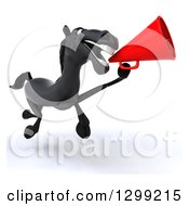 Clipart Of A 3d Black Horse Running And Announcing With A Megaphone Royalty Free Illustration