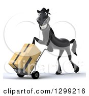 Clipart Of A 3d Black Horse Facing Left And Moving Boxes On A Dolly Royalty Free Illustration