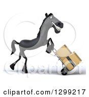 Clipart Of A 3d Black Horse Facing Right And Moving Boxes On A Dolly Royalty Free Illustration